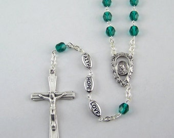 Faith Hope and Love Rosary Available in Your Choice Color of Beads