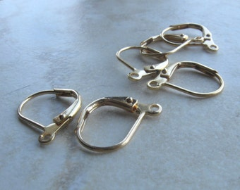 Gold plated lever back earwires 12 pair 13mm