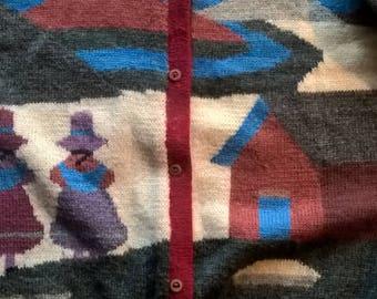 """Vintage  ARTESANIAS """"ARAL"""" alpaka wool cardigan sweater sz large"""