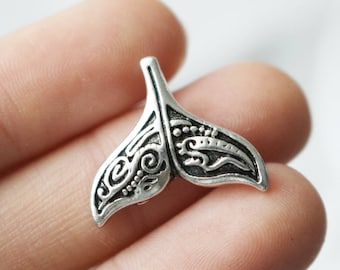 Set of 10, whale tail charm, antique silver, carved charms, metal charms, charms bulk, 20mm x 18mm, ocean charm, animal charms, symbol charm