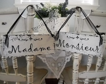 MADAME and MONSIEUR, Mr. & Mrs. Wedding Chair Signs, Bride and Groom Chair Signs, French Signs