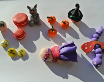 lot of thirteen pieces of polymer clay for creations