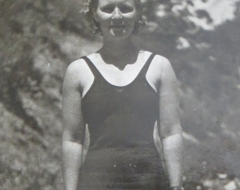 Cute 1930's Athletic Woman Models Bathing Suit Snapshot Photo - Free Shipping