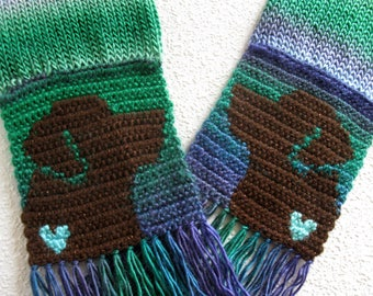 Labrador Retriever Scarf. Colorful stripes knit and crochet scarf with chocolate labs and small hearts. Labrador gift