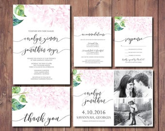 Pink Floral Wedding Invitation Suite Printable, Blush Pink Wedding Invitation Suite, Blush Wedding Invitation Suite, Blush Save the Date