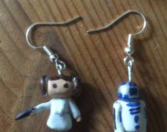 Princess Leia and R2-D2 earrings
