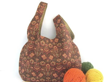 Knitting Bag Large Project Tote Bag Knitting Accessories Wrist Handbag, Autumn Tapestry