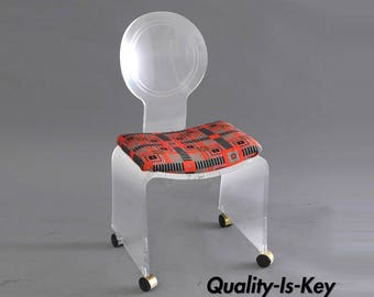 Hill Mfg. Lucite Vanity Chair Round Back Rolling Casters Mid Century Modern Vintage