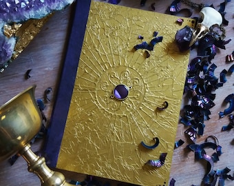 Notebook with dark gold and Amethyst Sun A5 A6 purple and gold, customizable, LaGeode