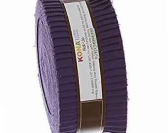 Kona Cotton Purple JELLY ROLL from Robert Kaufman - 40 2.5 Inch pieces (2.8 yards) - RU-324-40