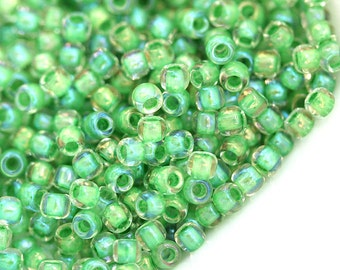 Green Seed beads Toho size 11/0 Inside Color Luster Crystal Spearmint Lined N 184 - 10g - S438