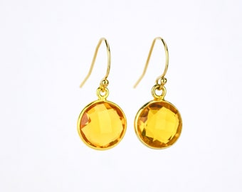 Citrine earrings, Minimalist Round Gemstone Dangle Earrings,  Bridesmaid Earrings November Birthstone Earrings Gold Framed Stone Mothers day