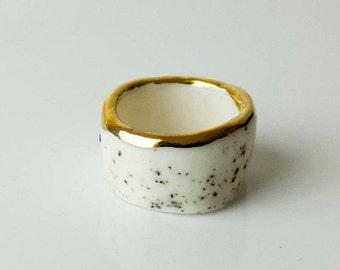Ceramic Ring, Porcelain Ring, Handmade Porcelain Ring, Ceramic Ring, Ceramic Jewelry, Porcelain Jewelry, Handmade Jewelry, Gold Porcelain