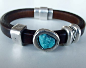 Leather bracelets for women, turquoise. gemstone bracelet, silver bracelet, gift for her, beaded bracelet, boho bracelet, turquoise cuff