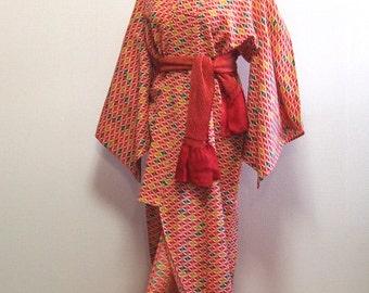 Red wool kimono  /vintage kimono robe