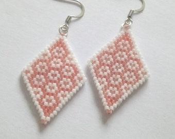 Miyuki diamond earrings handwoven white and orange coral