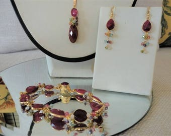 rubies jewelry set, ruby necklace gold, ruby pendant, ruby bracelet , 24K Gold Vermeil, Bezel Set Ruby, valentines day, gift for her
