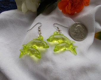 Lime Green Dolphin Twins Earrings