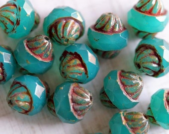 Czech Glass Beads - Opal Emerald Turbine Beads - Faceted Bicones - Bicone Beads - Bright Emerald - Bead Soup Beads