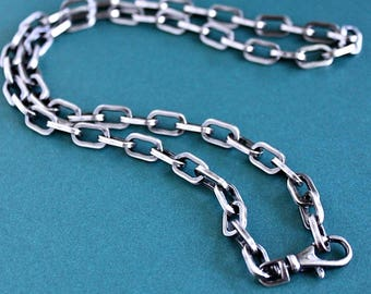 Mens Rustic Silver Chain Necklace, Mens Large Link Cable Chain