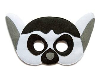 Lemur mask, felt mask, kids lemur costume, adult Safari animal mask, Madagascar inspired mask, Halloween costume, dress up, carnival mask