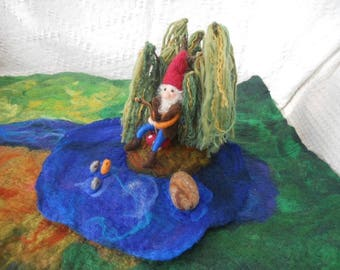 Fishing Gnome, Waldorf Gnome, Needle Felted Gnome, Play Mat, Play School, Felted Gnome, Wool Willow Tree, Weeping Willow, Nature Table