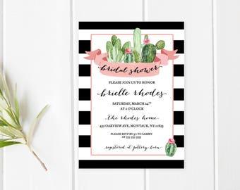 Bridal Shower Invitation, Bridal Shower Invite, Succulents, Cactus, Succulent Bridal Shower, Cactus Bridal Shower Invitation, Bride [732]