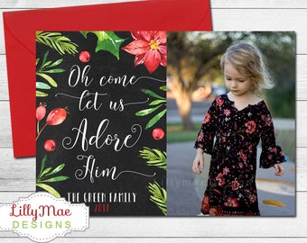 Religious Christmas Card, Christmas Photo Card, Bible Verse, Oh Come Let Us Adore, Family Christmas, watercolor flowers, floral christmas