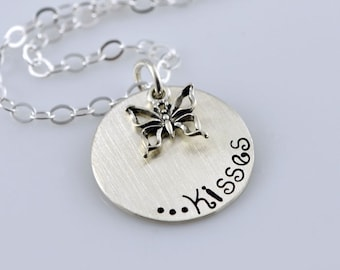 "Butterfly Kisses Necklace - 3/4"" Hand Stamped Sterling Silver Disc and Butterfly Charm"