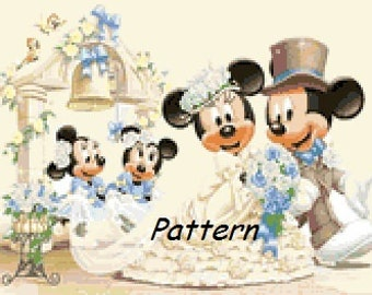 Mickey and Minnie (Bride & Groom). Wedding. Cross Stitch Kit.