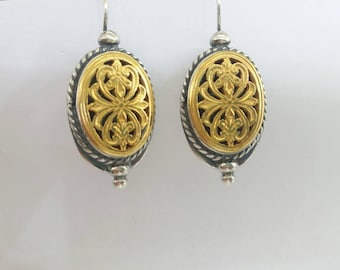Gold filled silver 925 byzantine hook earrings,vintage style,Greek earrings