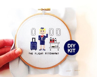 Cross Stitch Kit Flight Attendant. Gifts for stewardess or world traveler. Modern embroidery kit including embroidery hoop