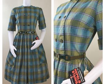 50s 60s Adele Fashions Green Turquoise Plaid Short Sleeve Cotton Day Dress, Size Small, NWT