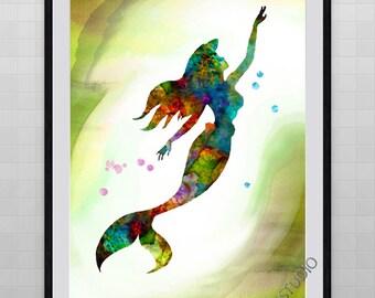 Giclee Mermaid Watercolor Print for Home Decor Wall Decor  Birthday Gift