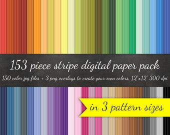 80% OFF SALE Huge Vertical Stripe Digital Paper Pack - 3 Striped Pattern Sizes 50 Colors Each and 3 Overlays - Digital Scrapbook Paper