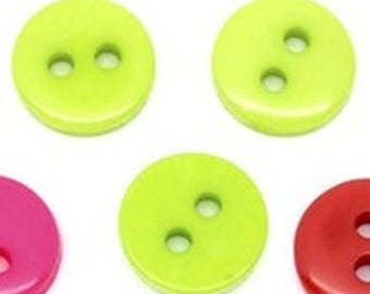 Set of 10 resin buttons round 9mm