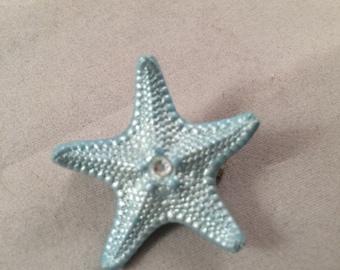 Metallic Light Blue Hand Painted Knobby Starfish Brooch/ Pin