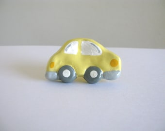 Yellow and Gray Car Drawer Knob for Kids Room