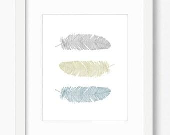 Feather print, feather wall art, printable art, nursery decor, feather art, bohemian decor, scandinavian modern, feather printable, feathers
