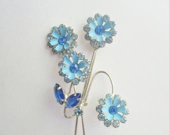 Vintage Brooch Blue Flower Stem Rhinestones Metal Silver Tone