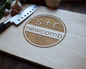 "Personalized Cutting Board ""Modern Monogram Stamp""Engraved Maple Wood , Custom Wedding, Anniversary Gift"