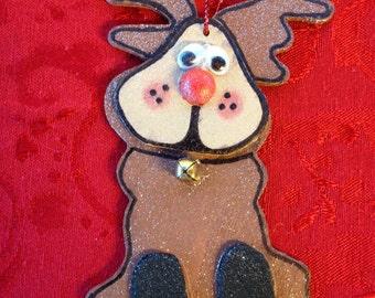 Hand Painted Wood Reindeer Ornament