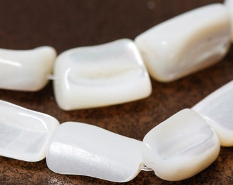 White Mother of Pearl Beads Tumbled Large Nuggets - Full Strand
