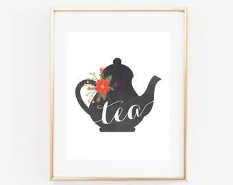 Tea Printable, Kitchen Print, Instant Download, Chalkboard Teapot, Tea Sign, Printable Art