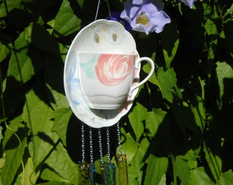 Fine China Tea Cup and Saucer Stained Glass Wind Chime, Johnson Bros Marie pattern, Glass Yard Art or Garden Decor, Original Handmade, OOAK