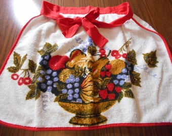 Vintage Red and White Terry Towel Apron, 1960