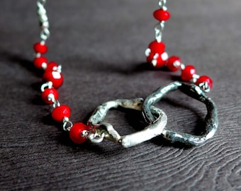 Sterling Silver Twig Ring Necklace, Textured Twig Blood Red Bead Necklace, Red Silver Necklace, Cast Twig Necklace