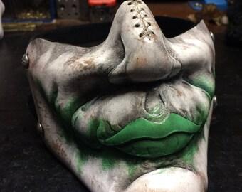 Leather Joker mask in green inspired by Heath Ledgers Joker