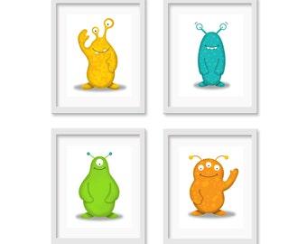 Kids Monster Art - Alien Nursery Art - Monster Nursery