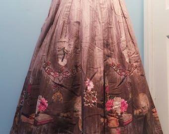Novelty print skirt mid century
